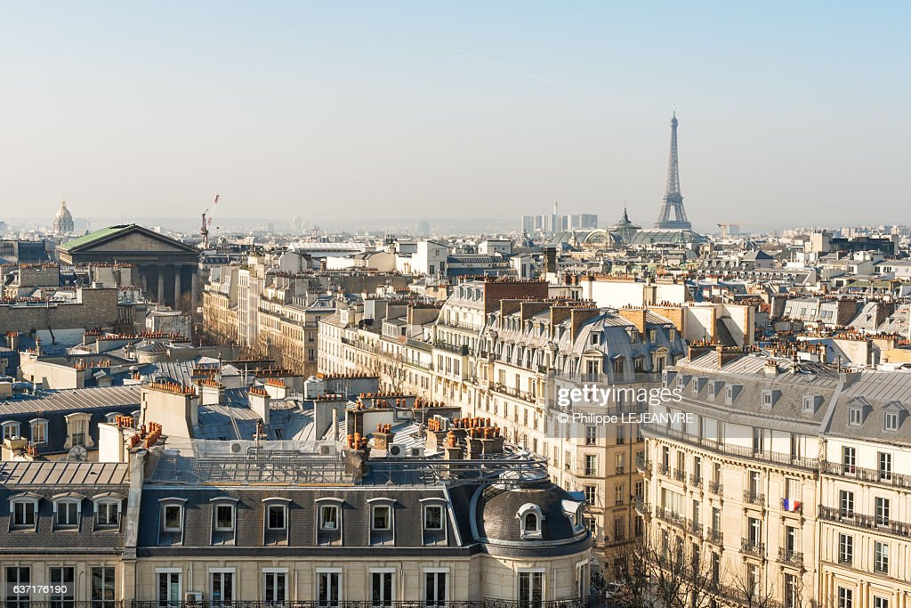 Paris skyline with Eiffel tower aerial view in daylight : Stock Photo