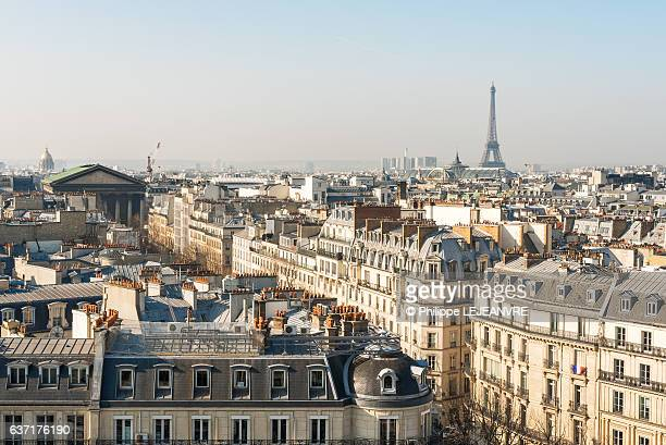 paris skyline with eiffel tower aerial view in daylight - paris stock pictures, royalty-free photos & images