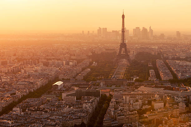 Paris Skyline With Eiffel Tower In Sunset Light Wall Art