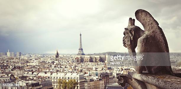 Paris skyline with Eiffel tower seen from Notre Dame