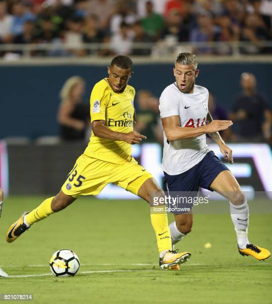 Paris St Germain Antoine Bernede kicks the ball during the International Champions Cup match between Tottenham Hotspur and Paris St Germain on July...