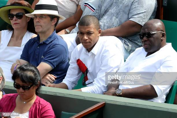 Paris St Germain Footballer Kylian Mbappe attends the 2018 French Open Day Eight at Roland Garros on June 3 2018 in Paris France
