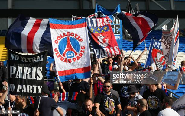 Paris St Germain Ultras fans with banners / flags during the UEFA Women's Champions League Final match between Lyon and Paris Saint Germain at...