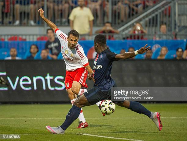 Paris St Germain's Jonas and SL Benfica's Serge Aurier in the International Champions Cup in Toronto