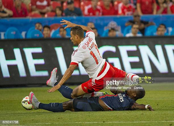 Paris St Germain's Serge Aurier and SL Benfica's Lima in the International Champions Cup in Toronto