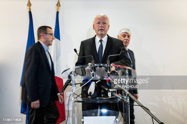 Paris State Prosecutor Remy Heitz delivers a speech during a press conference in Lyon court on May 25 the day after a package bomb blast along a...