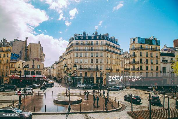 paris street view - boulevard de clichy, - boulevard stock pictures, royalty-free photos & images