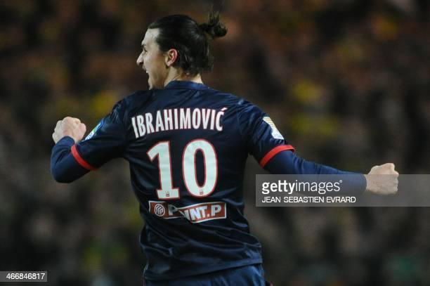 Paris' Swedish forward Zlatan Ibrahimovic celebrates after scoring a goal during the French League Cup semifinal football match between Nantes and...