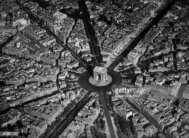 Paris The Arc de Triomphe Aerial view