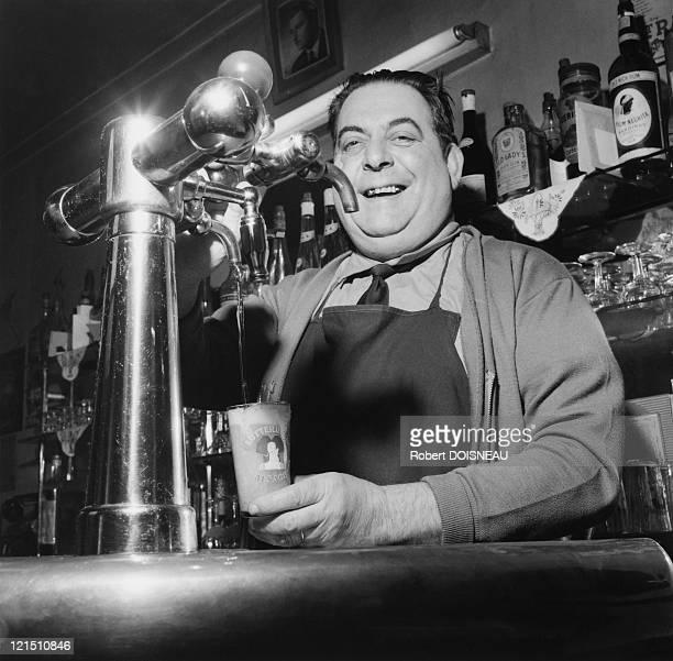 Paris The Bistros Barman Pulling Beer In 1957