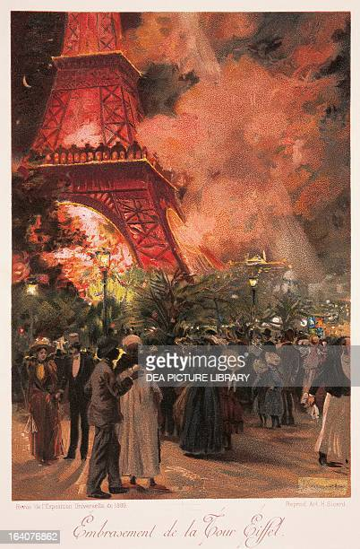 Paris the Eiffel Tower fire during the Universal Exhibition in Paris in 1889 print France 19th century