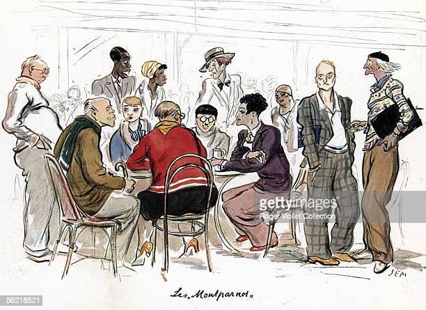 Paris 'The Montparnos' Watrecolours by Sem 1928 ADAGP