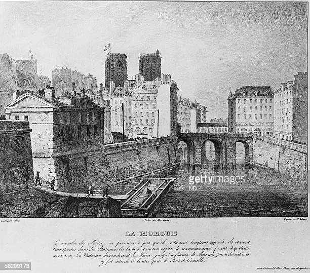 Paris The mortuary during the cholera Corpses carried in a barge 1830