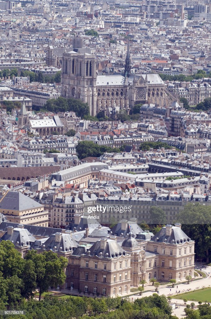 the Senate building (6th arrondissement or district) and Notre-Dame Cathedral (4th arrondissement) viewed from the 'Tour Montparnasse' office skyscraper.