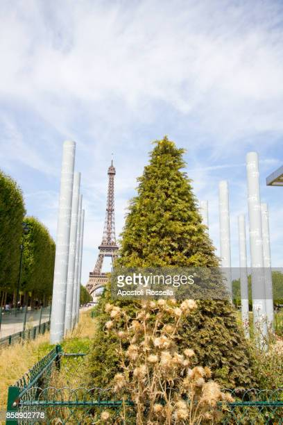 Paris, The Wall of Peace and behind of the Eiffel tower