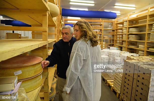 Paris' UMP rightwing party mayoral candidate Nathalie KosciuskoMorizet visits the Rungis wholesale market in Rungis near Paris on December 5 2013...
