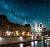 beautiful starry sky over notre dame