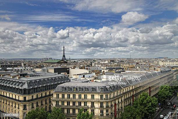 paris view - galeries lafayette paris stock photos and pictures