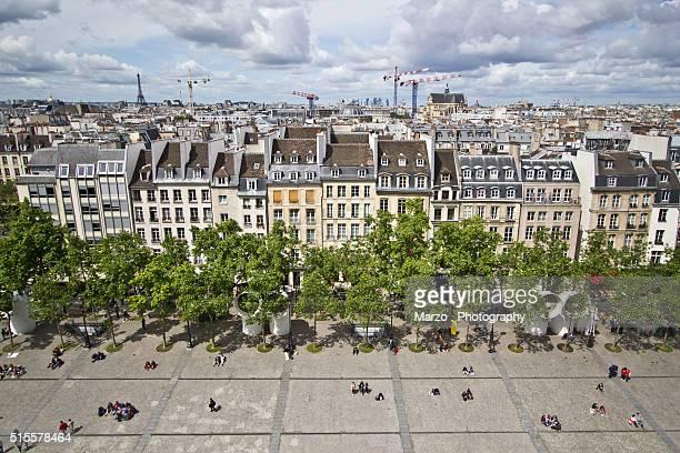 paris view - centre pompidou stock pictures, royalty-free photos & images