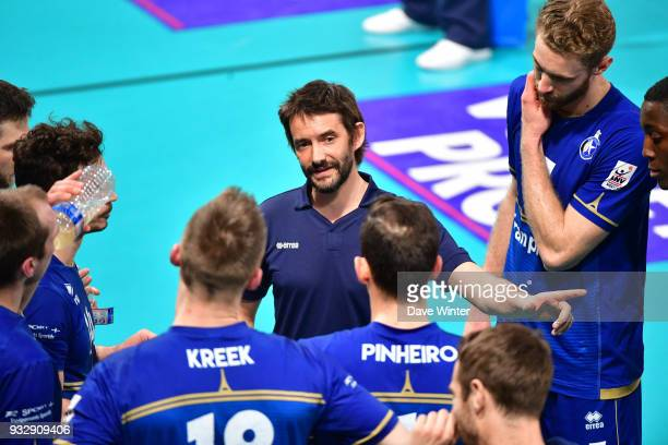 Paris Volley coach Dorian Rougeyron during the Ligue A match between Paris Volley and Tourcoing on March 16 2018 in Paris France