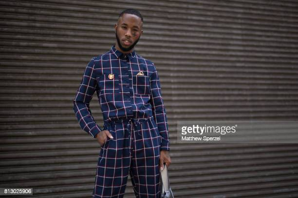 Paris Warren is seen attending Nick Graham during Men's New York Fashion Week wearing Native NY with Zara shoes on July 11 2017 in New York City
