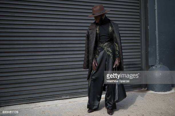 Paris Warren is seen attending Patrik Ervell/You As/John Elliott wearing Underwood New York outfit with a Coach bag on February 1 2017 in New York...