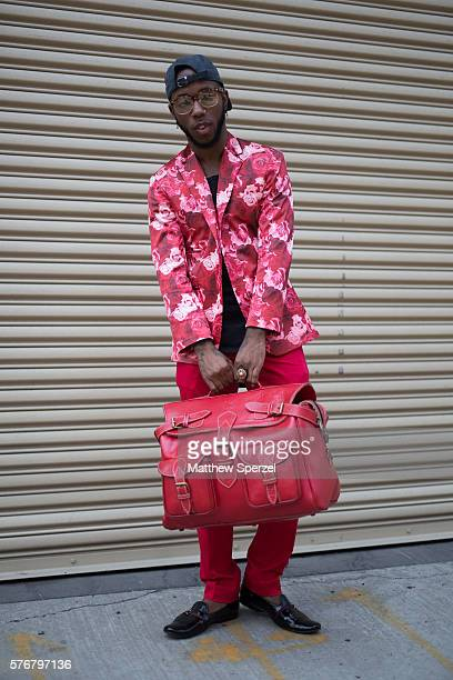 Paris Warren is seen attending the Palmiers Du Mal Devon Halfnight Leflufy and Parke Ronen presentations during New York Fashion Week Men's...