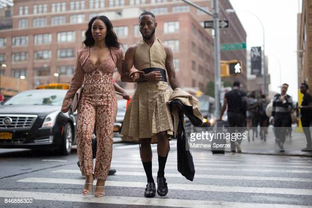 Paris Warren Jayce Jackson are seen attending Marchesa during New York Fashion Week wearing Underwood NY and Magnolia Silks on September 13 2017 in...