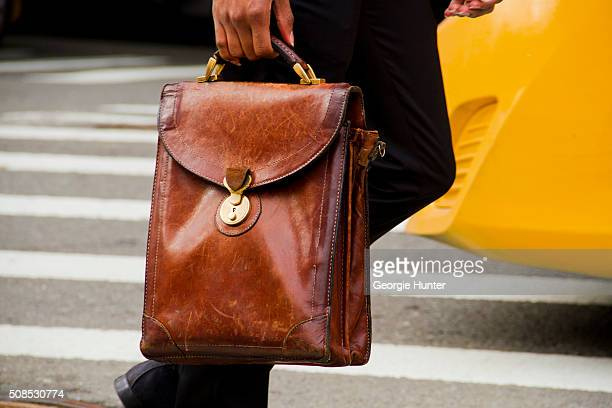 Paris Warren seen at Skylight Clarkson Sq outside the John Elliott show with Zara leather bag during New York Fashion Week Men's Fall/Winter 2016 on...