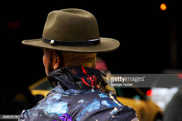 Paris Warren seen at Skylight Clarkson Sq outside the John Elliott show wearing Danny Nguyen jacket and Brixton hat during New York Fashion Week...