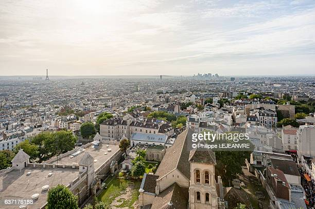 Paris with Eiffel tower and la Defense Financial district aerial view from Montmartre