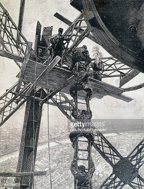 Paris workers descending from the top of the Eiffel Tower in December 1888 during the construction of the tower for the Universal Exhibition of 1889...