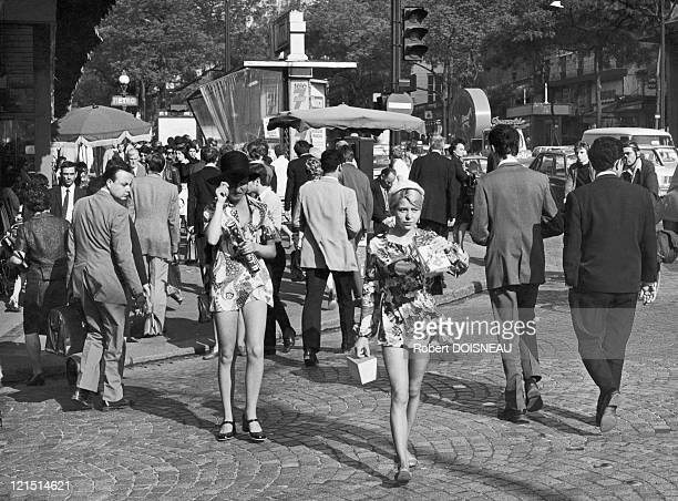 Paris Young Women Wearing MiniSkirts On The Grands Boulevards