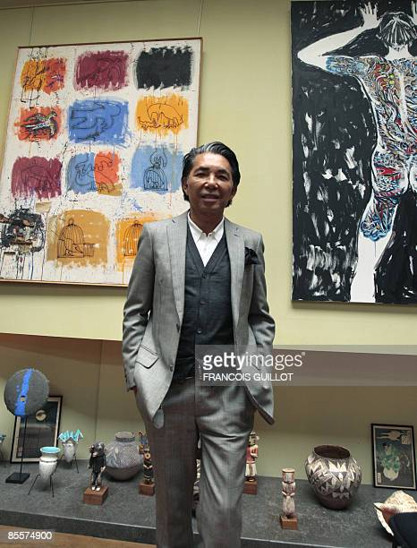 """Paris-based Japanese designer Kenzo Takada, aka """"Kenzo"""", poses on March 24, 2009 in his 1.362 m2 in Paris, during a press presentation of his..."""