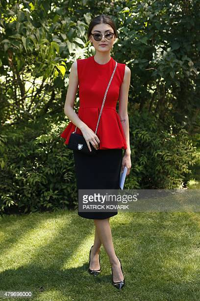 Parisbased model Amalie Gassmann poses prior to attend Christian Dior 20152016 fall/winter Haute Couture collection fashion show on July 6 2015 in...