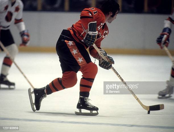 P Parise of the Minnesota North Stars and Team West skates with the puck during the 26th NHL AllStar Game against Team East on January 30 1973 at the...
