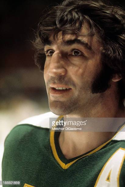 P Parise of the Minnesota North Stars looks on during an NHL game circa 1972