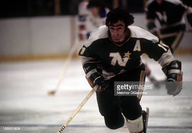 Parise of the Minnesota North Stars skates on the ice during an NHL game against the New York Rangers circa 1972 at the Madison Square Garden in New...