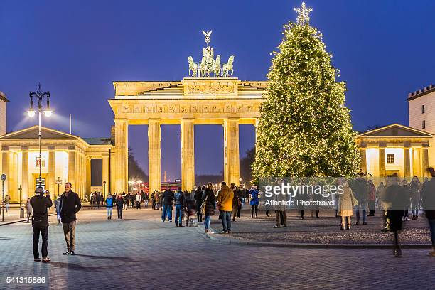 Pariser Platz (Paris Square), a Christmas tree and the Brandenburg Gate during the Christmas period