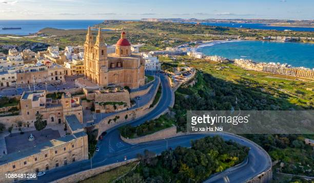 parish church of mellieha view from above - malta stock pictures, royalty-free photos & images