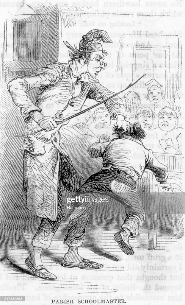 Engraving of a Schoolmaster Spanking a Child : News Photo