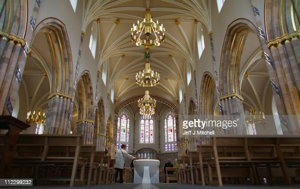 Parishioners attend mass at the newly refurbished Saint Andrew's Metropolitan Cathedral on April 18 2011 in Glasgow Scotland The iconic Catholic...