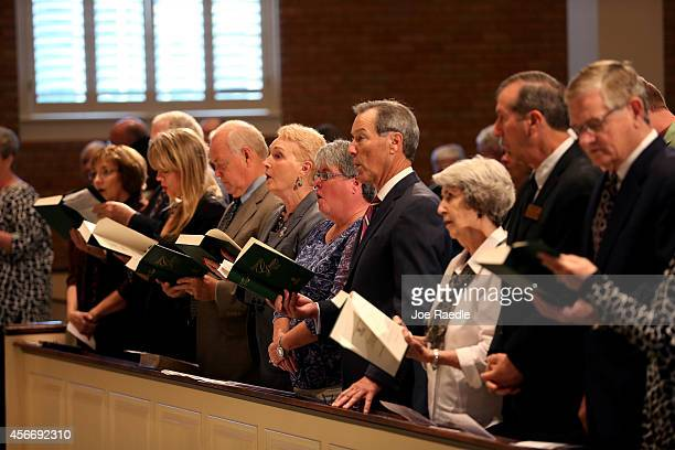 Parishioners attend the Wilshire Baptist Church on October 5 2014 in Dallas Texas Louise Troh the person who the first Ebola patient in America...