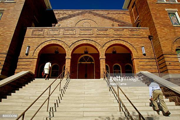 Parishioners enter the historic Sixteenth Street Baptist Church on November 2 2008 in Birmingham Alabama Four young girls were killed in the bombing...