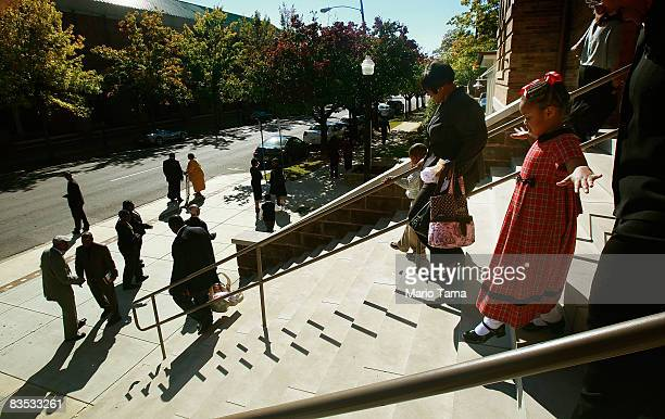 Parishioners exit the historic Sixteenth Street Baptist Church on November 2 2008 in Birmingham Alabama Four young girls were killed in the bombing...