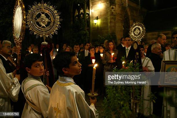 Parishioners of Redfern's Annunciation of Our Lady Cathedral celebrate Midnight Mass on the eve of Greek Orthodox Easter 30 April 2005 The midnight...