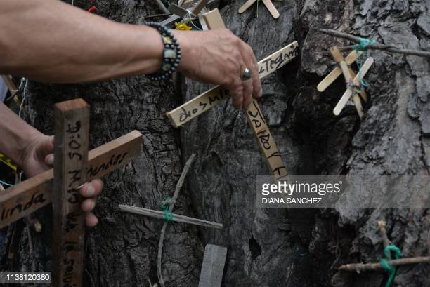TOPSHOT Parishioners put small crucifixes on a tree during a Good Friday procession in Ciudad Bolivar neighbourhood in Bogota on April 19 2019