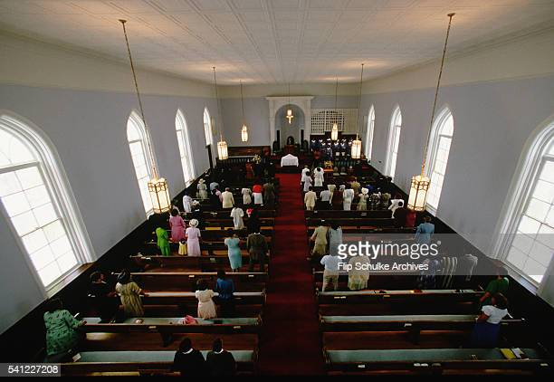 Parishioners stand during services at Dexter Avenue Baptist Church in Montgomery The church was Martin Luther King Jr's first posting and the...