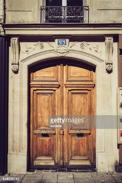 Parisian classic double door, burnt wood color