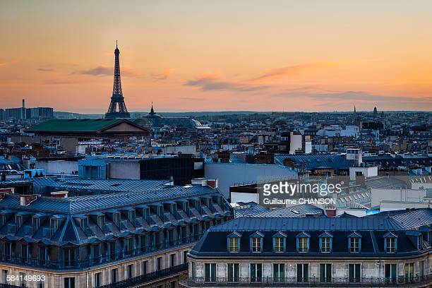 parisian roof from galeries lafayette rooftop - galeries lafayette paris stock photos and pictures